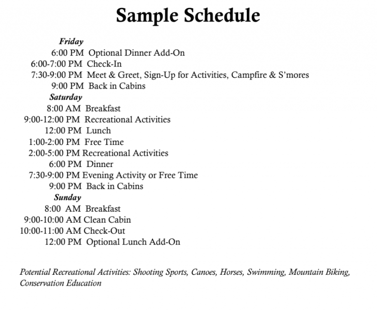 Family Camp Sample Schedule
